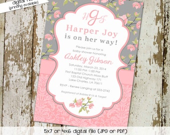 Baby girl shower invitation floral monogram baby sprinkle gender reveal baptism christening blessing (item 1335) shabby chic invitations