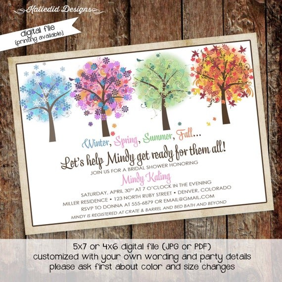 Couples Bridal Invitation women only shower stock the bar co-ed party invite bachelorette theme winter fall summer spring 318 Katiedid cards