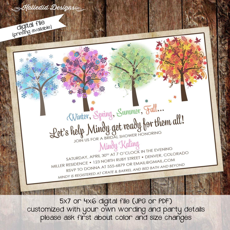 bridal shower invitation four seasons theme baby shower invitation