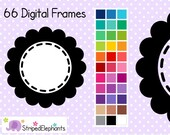 Stitched Flower Digital Frames 1 - Clip Art Frames - Instant Download - Commercial Use