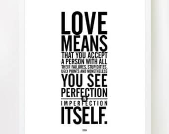 The Meaning Of Love (Black and White) Inspiring Quote 8x10 INSTANT DOWNLOAD Printable Art.