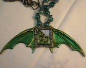 "Green metal dragon wings glass beads ""Spread your wings and fly"" dragon hand painted/stained"