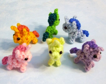 One Mini Baby Unicorn Crochet Plushie - 2 inch Stuffed Pony Toy - Choose your colors, Alicorn Pegasus Horse, Made to Order
