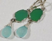 Chrysoprase  Earrings Drop, Dangle earrings Gemstone Earrings Birthsday Gift Wire Wrapped Earrings