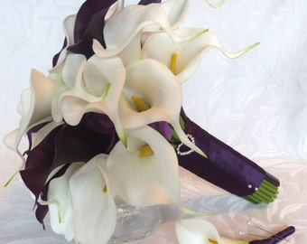 Dark purple and white mini real touch calla lily Wedding bouquet and boutonniere plum calla lily