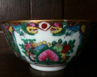 Vintage Chinese Rose Medallion Bowl Dish Rice circa 1950's / English Shop