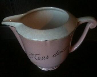 Vintage French Nous Deux Us Two pink semi porcelain milk jug pitcher teatime afternoon tea circa 1950's / English Shop
