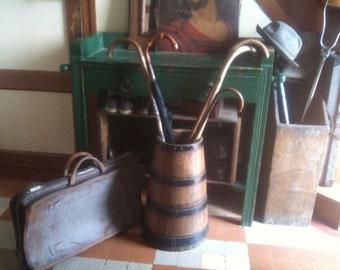 Antique French Wooden Butter Barrel Heavy Farmer Jug Vase Walking Stick Umbrella Stand circa 1920's / English Shop