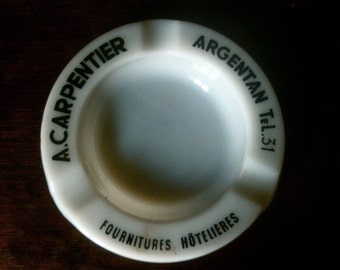 Retro French White Glass A Carpentier Cigarettes Ashtray Smoking circa 1970's / English Shop