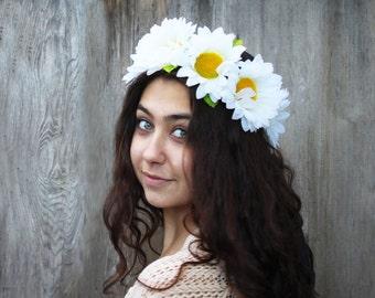 Large White Daisy Headband ,EDC, Daisy Crown, Hippie Headband, Daisy Flower Crown, Daisy Flower Headpiece, Boho, Daisy Headpiece, Daisies