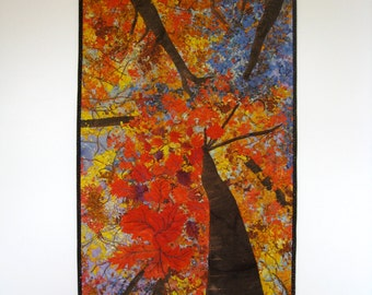 Quilted Wall Hanging  Art Quilt  Autumn Trees  Original