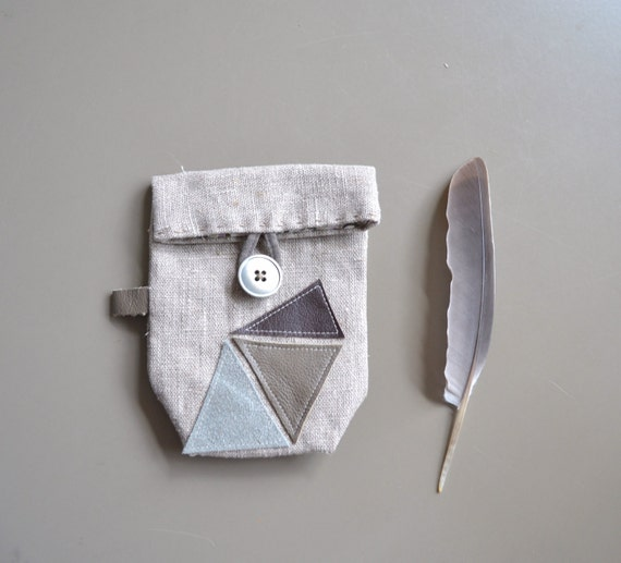 SALE small linen pouch - gift for him - geometry minimal button pouch - leather details pouch - neutral linen pouch - small linen pouch