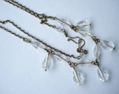 Art Deco Necklace Clear Glass Beads and Drops 1920's 1930's