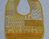 Cute patchwork bib in yellow - birthday gift, baby shower gift - unisex baby present