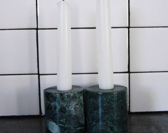 Vintage Green Marble Candleholders