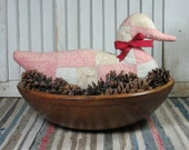 Primitive Wild Duck Pillow Made From Antique Quilt Red White Great For Wooden Bowl Shelf Cabin Farmhouse Anyhouse