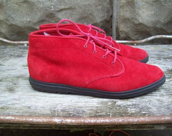 Vintage Red Suede KEDS Ankle Booties Size 7 // EUR 37.5 // UK 4.5