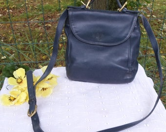 COACH, Vintage, Leather, Purse, Handbag, Soho, Flap Purse, Navy, Crossbody,Top Handle Carry,  Made in USA, Stunning Vintage Bag