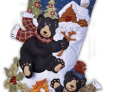 Handcrafted Made To Order Limited Edition  Bucilla Christmas Stocking- Black Bear Bonfire