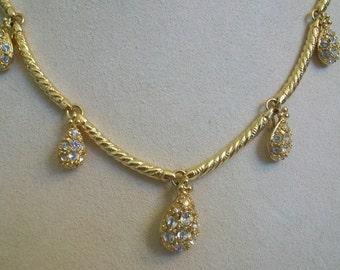 Nolan Miller teardrop necklace in original box, pave rhinestone, rhinestone, Nolan Miller jewelry, glamour collection, collectible