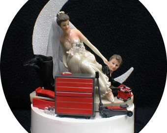 Car AUTO MECHANIC tools Wedding Cake Topper Bride & Groom Tool Box FUNNY Racing Groom top