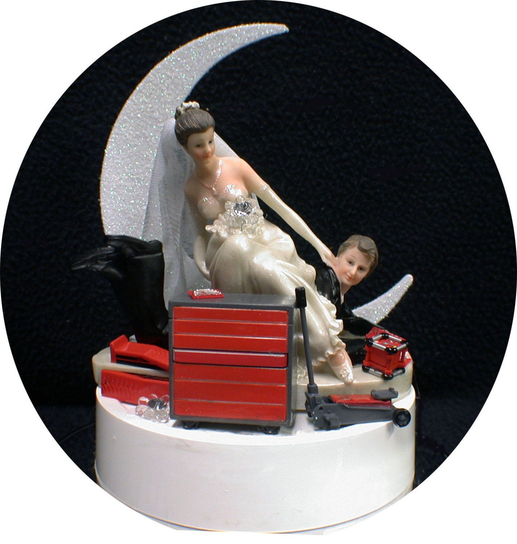 Car AUTO MECHANIC tools Wedding Cake Topper Bride & Groom Tool