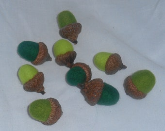 9 Needle Felted Acorns - Greens - FREE SHIPPING to US and Canada