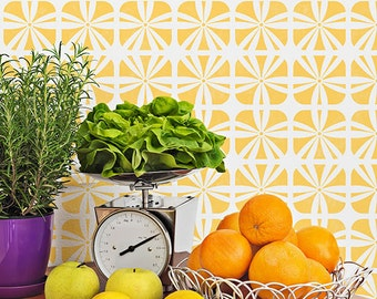 Geometric Square Flower Furniture Stencil for DIY Decorating