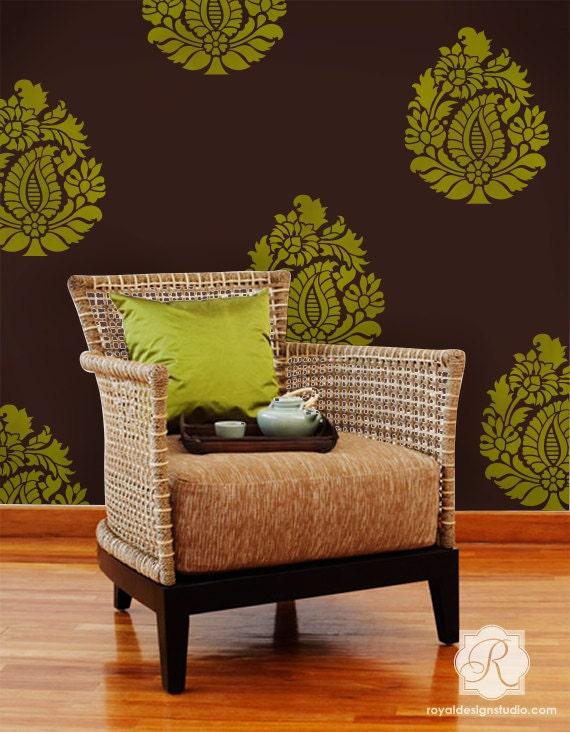Indian paisley wall art stencil for diy boho chic bohemian wallpaper decor from - Diy bohemian wall art ...