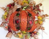 Fall Burlap Deco Mesh Pumpkin Wreath