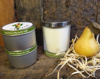 French Pear & Fig Handmade Soy Wax Candle -  Flat Rate Shipping Now Available!