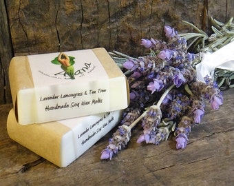 Lavender Lemongrass & Tea Tree Handmade Soy Melts - (Essential Oil) - Flat Rate Shipping Now Available!