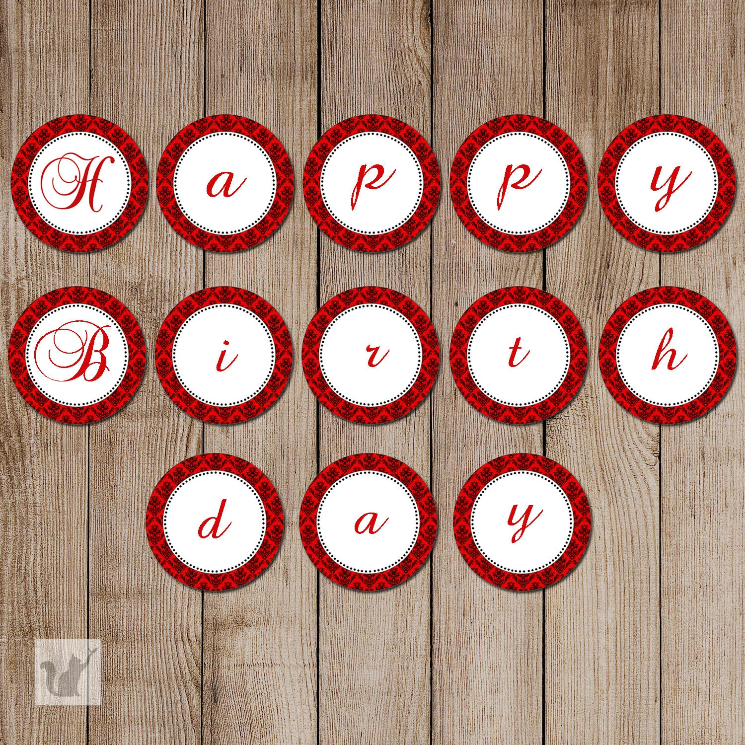Damask Birthday Banner Vintage Red Adult Printable Party