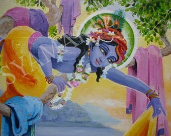 canvas archival prints, Krishna steals the gopis hearts, Krsna, devotional art, India, sunrise at Yamuna river