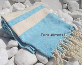 Turkishtowel-2014 Spring Collection-Hand woven,20/2 cotton warp and weft,Diamond Turkish Bath,Beach Towel-Aqua,Turquoise,natural cream