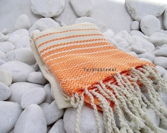 Turkishtowel-2014 Summer Collection-Hand woven,20/2 cotton warp and weft,Zigzag,Turkish Bath,Beach Towel-Natural cream and orange stripes