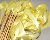 50 Magical Wedding Ribbon Wands in YOUR Colors with Bells (shown in baby maize yellow and silver bells) Colorful wedding ceremony ex
