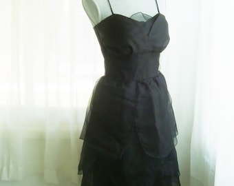Little Black Dress, Layered Chiffon Cocktail Dress, By Niki, Size 6-8