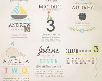 INSTANT DOWNLOAD - Birthday Words Overlays vol.1