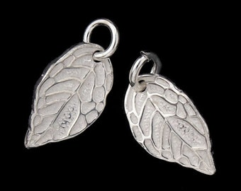 2 of 925 Sterling Silver Leaf Charms 8x14mm. :th1861