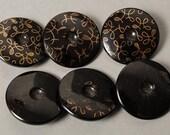 Set of 6 Antique black glass button, floral decor