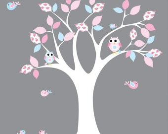 Children Wall Decal Rose Pattern Nursery Vinyl Wall Sticker Tree