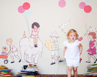 Sarah Jane On Parade Eco-Friendly Reusable Fabric Wall Decals by Pop & Lolli