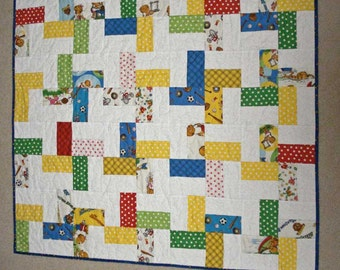 Berenstain Bear Quilted Baby Blanket - Stroller or Carseat Size in Primary Colors and White