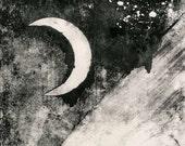 Large Moon Print, Cresent Moon Print, Print Making, Mono Print, Wall Art, Modern Wall Art, Fine Art Print, Art Black White, Minimalist