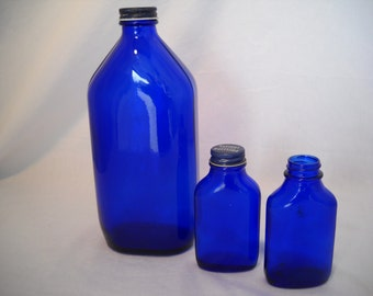 Vintage Cobalt Blue Bottles Phillips Milk Of Magnesia Instant Collection Of 3
