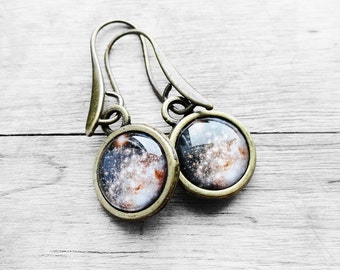 Get 15% OFF - Double Sided Design - Antique Bronze Vintage Handmade Resin Golden Galaxy Cabochon Earrings - Happy Mother's Day SALE 2016