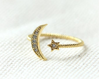 Crescent Moon and Star Ring / adjustable ring, choose your color-gold, silver and pink gold