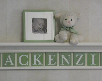 Baby Nursery with Wall Shelf Light Green Personalized Custom Children's Name Sign (White or Off White) Shelf with Wooden Letters