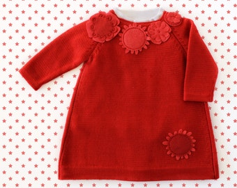 Knitted baby dress in red with felt flowers. 100% merino wool. READY TO SHIP size 1-3 months